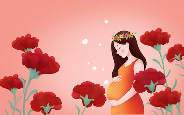 手繪卡通母親節母親康乃馨插畫海報背景