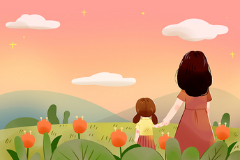 溫馨母親孩子卡通人物母親節母愛溫馨場景png素材
